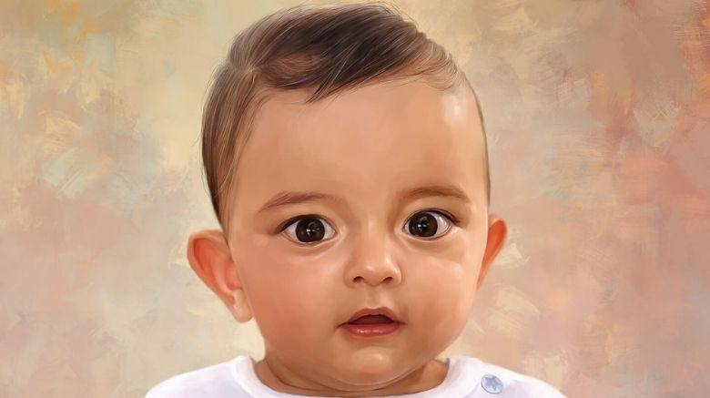 Baby oil painting of a baby