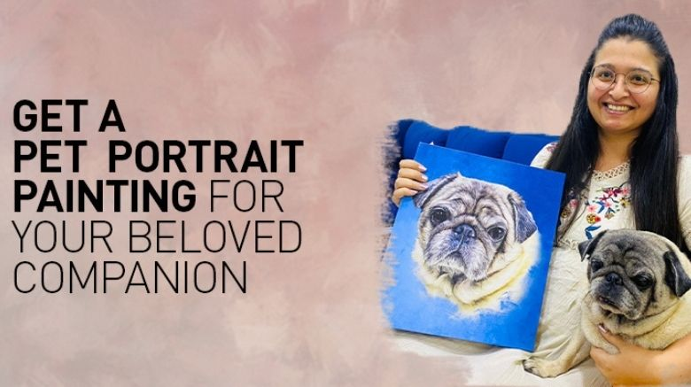 A lady handling a Pet Portrait Painting of her dog with her pug