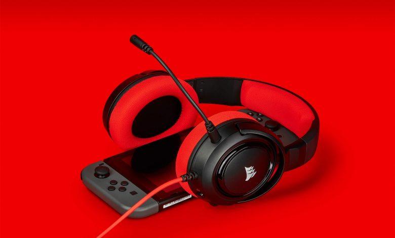 red gaming headphones