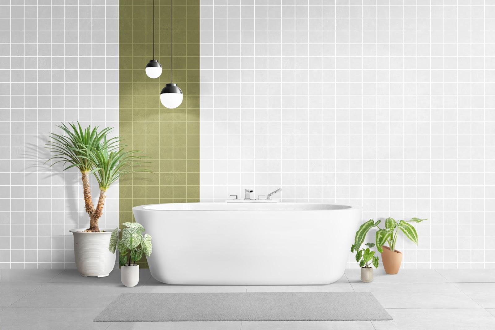 bathroom white tiles